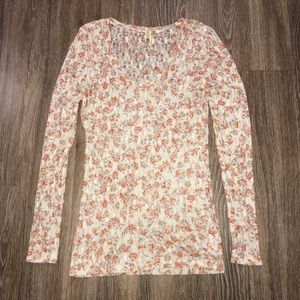 BKE Solid Floral Lace Long Sleeve Blouse, Size Lg